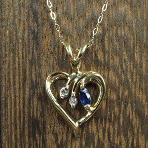 "16"" 10K Gold White & Blue Topaz Heart Necklace"